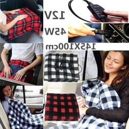 12Volt 100% Fleece Red Plaid Heated Travel Blanket! Electric