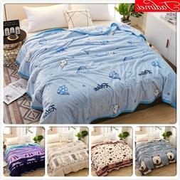 Blue Thick Blanket Adult Kids Child Student <font><b>Soft</b