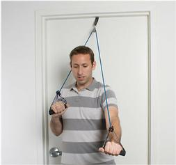 CanDo shoulder pulley w exercise tubing/handles Blue heavy