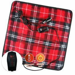Zone Tech Car Electric Mini Heated Travel Blanket Pad Fleece
