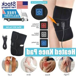 Electric Heated Knee Pad Brace Arthritis Pain Relief Warm Th