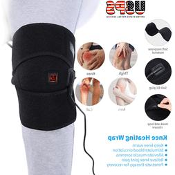 Heated Knee Brace Wrap Heating Pad Therapy Fit Knee Arthriti