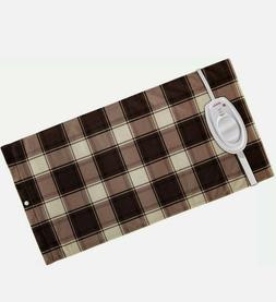 king heating pad brown plaid