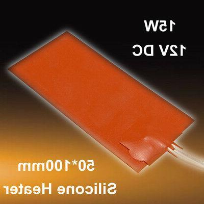 12V 50x100mm 15W Flexible Silicone Heater Pad 3D Printer Hea