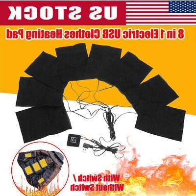 3/6/8PCS 5V Heating Vest Heater Pad USA
