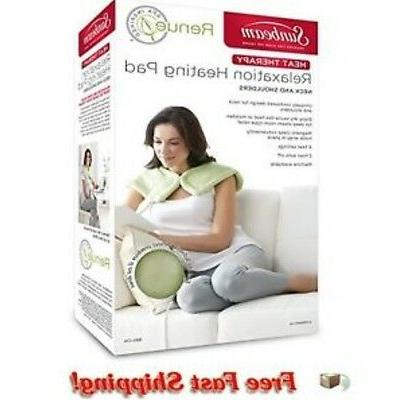 Sunbeam Microplush Tension Relief Heating Wrap, 4 Settings, Heat, Magnetic Closure, Spa