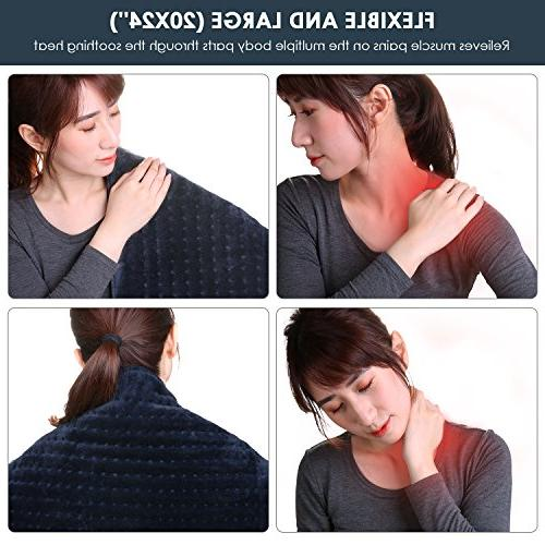 """XXL Electric Heating 20"""" x Large Size with Off, Warmer 3 Settings for Warming Shoulder Body Relief"""