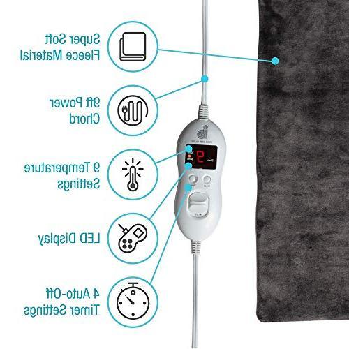 "Electric Pad Back Pain, Feet, & Knees – 12x24"" Soft Dry Moist Heat Auto Shut Off, Temp Cover, Case InsiderBlue"