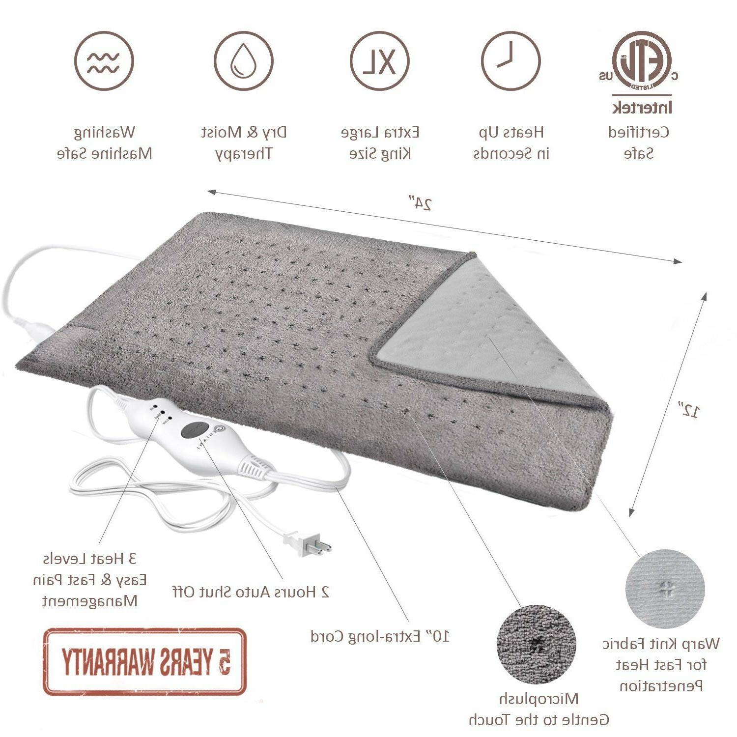 XL Heating for Back, Pad Fast Pain Relief, Tabby Gray