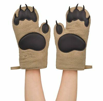 friends bear hands oven mitts