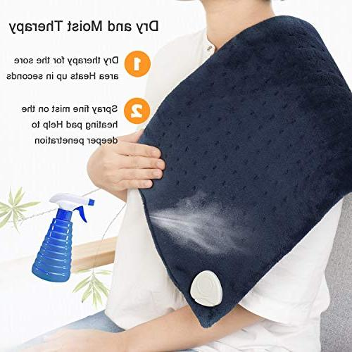 XL Heating Auto Shut - Electric Pad with Fast Pain Relief, Moist Therapy, Settings - Blue