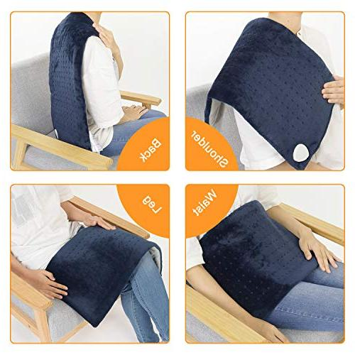 XL Heating Pad Auto Shut Electric Heat Pad Fast Technology for Neck Shoulder Back Pain Relief, Therapy, 3 - Dark Blue