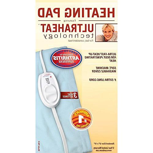 Sunbeam Heating Pad Pain Size Settings Light 12-Inch 15-Inch