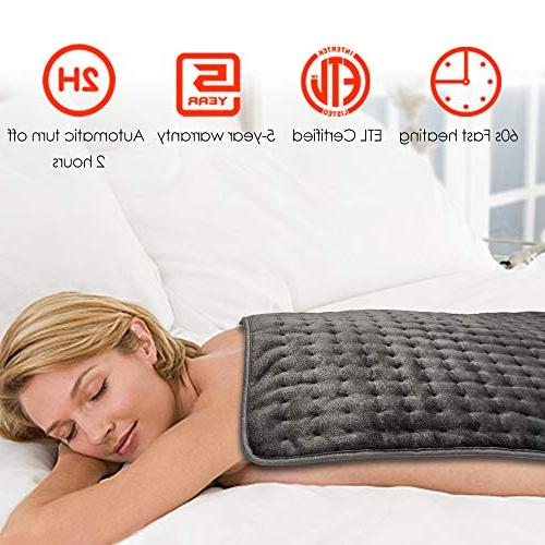 Heating Pad, Ultra-Large Pads Back Auto Heating Settings, Machine-Washable, Micro Plush/Soft Touch, Storage Included