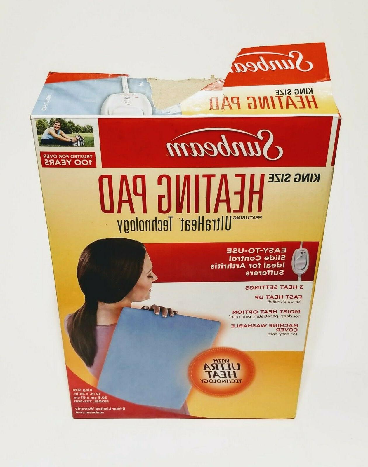 Sunbeam Heating Pad for Pain Relief King Size UltraHeat, 3 H