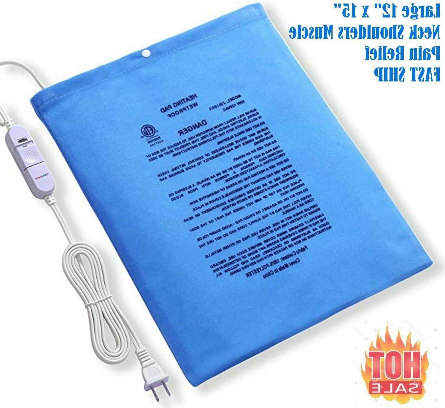 L Size Electric Heating Pad Cramps Neck Back Pain Relief 12""