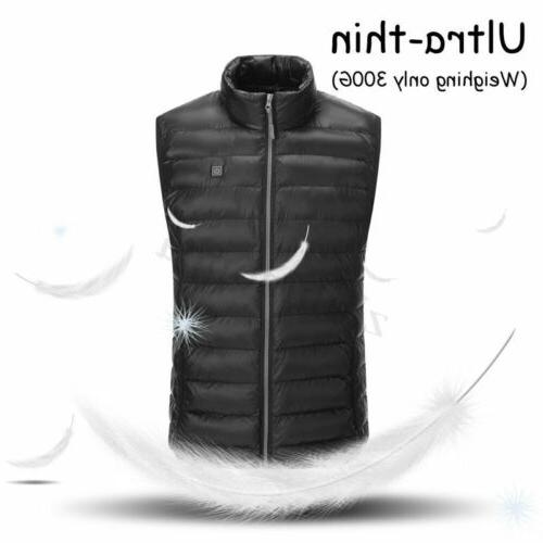 Men's Heating Vest Coat USB Pad Winter Jacket Heated Warmer Warm