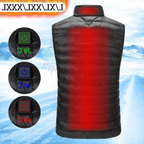 Men's Heating USB Electric Pad Winter Jacket Heated Warm