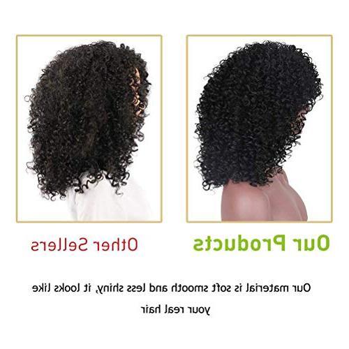 CrazyTiger Afro Hair Wigs for Woman Short Hair Jet Black Fiber