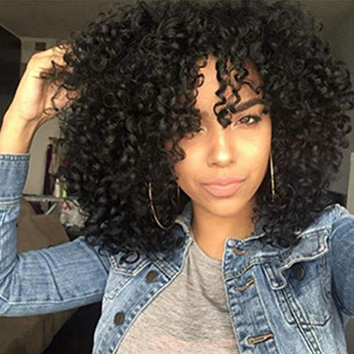 CrazyTiger Synthetic Afro Curly Hair Wigs for Black Woman Short Jet Black Resistance Fiber Wig