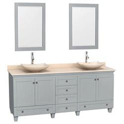 3Pc Wooden Double Bathroom Vanity Set in Oyster Gray Finish