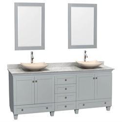 3Pc Wooden Double Sink Bathroom Vanity Set