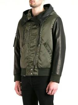 DIESEL BLACK GOLD Leather Sleeved Padded Hooded Jacket Coat