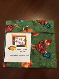 Microwave Potato Bag-Roosters Chickens,Handmade, Cotton,Vegg