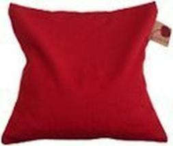 HOT CHERRY pit pillow  Red Denim SINGLE Square