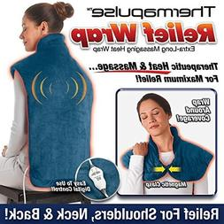 New! Thermapulse Relief Wrap In Blue Extra-Long Massaging He