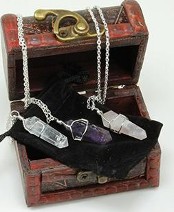 Three Wire Wrapped Crystal Point Pendant Necklaces, Amethyst