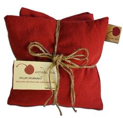 HOT CHERRY Red Denim TRIPLE Square cherry pit pillow