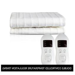 Warm Bed with 2 Controllers Timer Heated Mattress Pads White