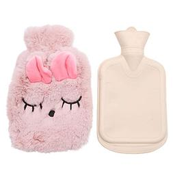 WSSROGY 1 Liter Hot Water Bottle, Cute Portable Reusable Hot