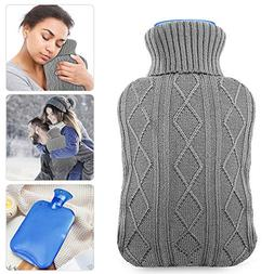 Hot Water Bottle with Knit Cover, UBEGOOD Rubber Transparent