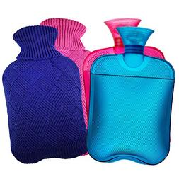 AZMED Hot Water Bottle with Cover, 2-Liter Natural Warm Comp
