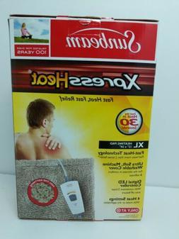 """NEW Sunbeam Xpress Heat Fast Heating Pad XLarge 12""""x24"""" Tan"""